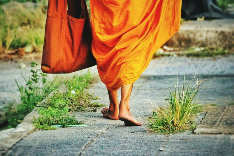 The road less travelled... Monk  Orange Road Bag Walk Walking Buddha Buddhism Buddhist Alone Spiritual Spirituality Feet Brown Path Life Simplicity Rich Colors Thailand Pastel Power Photography In Motion First Eyeem Photo Spotted In Thailand The KIOMI Collection Telling Stories Differently Long Goodbye Break The Mold TCPM BYOPaper! The Street Photographer - 2017 EyeEm Awards The Photojournalist - 2017 EyeEm Awards The Great Outdoors - 2017 EyeEm Awards Press For Progress This Is Masculinity Focus On The Story Going Remote