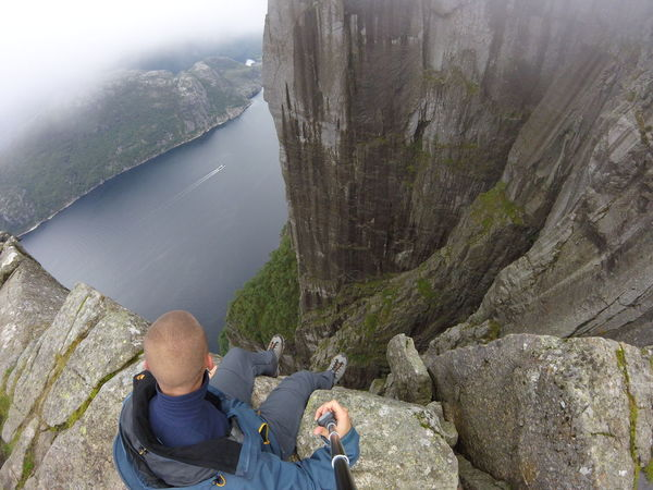 Preikestolen trip :) Climbing A Mountain Fjordsofnorway Hiking Norway Preikestolen Travel Trip Adult Beauty In Nature Casual Clothing Freedom Mature Adult Mature Men Men Mountain Nature Outdoors People Rear View Rock - Object Scenics Sky Vacations Water Sitting Be. Ready. EyeEmNewHere