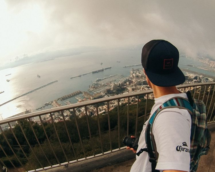 Rear View One Person Outdoors Bridge - Man Made Structure Sky Real People Standing Lost In The Landscape Been There. Rock Of Gibraltar EyeEm Best Shots EyeEm Selects Gibraltar Landscape Gibraltar Views Gibraltar Rock Beauty In Nature Vacations Horizon Over Water Gopro Goprohero5 Leisure Activity Only Women Lifestyles Day One Woman Only