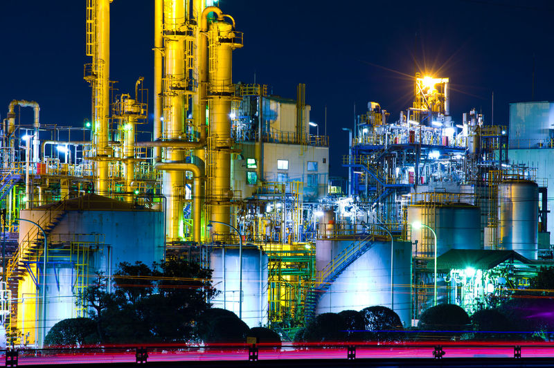 Night Fuel And Power Generation Illuminated Industry Factory Oil Industry Building Exterior Refinery No People Smoke Stack Glowing Nature Built Structure Sky Architecture Oil Refinery Outdoors Chemical Plant Long Exposure Pipe - Tube Light Japan Japan Photography Pentax Factory Night View