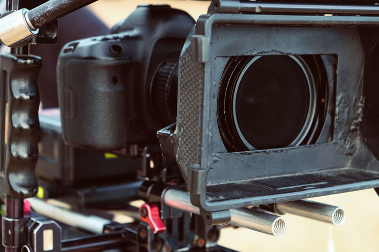 Close-up of movie camera