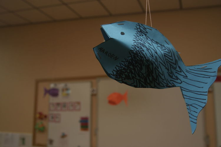 Close-up of paper fish hanging in classroom