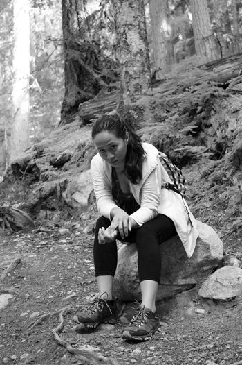 Hiking Black And White Forest Outdoors Sitting
