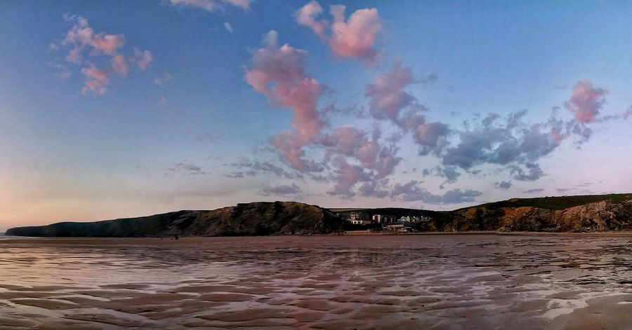 The Essence Of Summer Taking PhotosDramatic Sky Hello World Watergate Bay Enjoying Life Sky Nature Cloud - Sky Cornwall Beach Sea Coastline Sunset Rock Formation