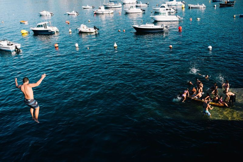 Mix Yourself A Good Time Water Real People Day High Angle View Outdoors Large Group Of People Sea Nautical Vessel Nature Men Adult People Adults Only