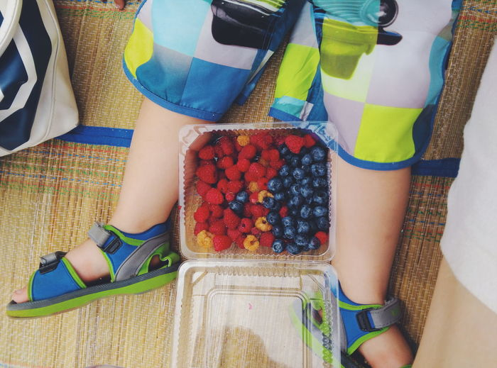 Low section of kid sitting with berry fruits in plastic container on beach mat