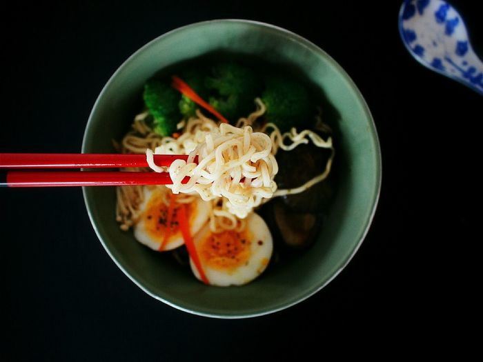 Directly Above View Of Noodle Meal On Table