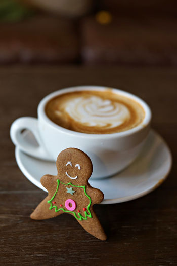 Christmas Cookies Latte Background Cafe Cafe Latte Close-up Coffee - Drink Coffee Cup Day Drink Food Food And Drink Freshness Frothy Drink Ginger Bread Man  Gingerbread Indoors  Latteart No People Table Vintage Winter Drinks Wooden Texture