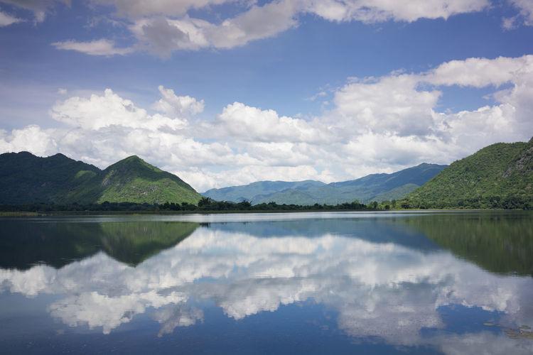 อ่างเก็บน้ำ กาญจนบุรี Lake Lakeshore Landscape Outdoors Reflection Reservoir Riverbank Water Waterfront Sony A7r