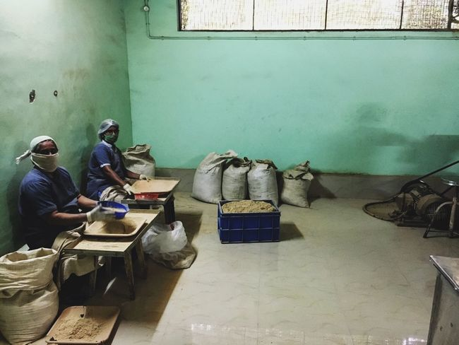 Ayurveda Ayurvedic Herbs Factory Full Length Green Herbal Medicine In Looking Medicine Sacks Sitting Spices Work
