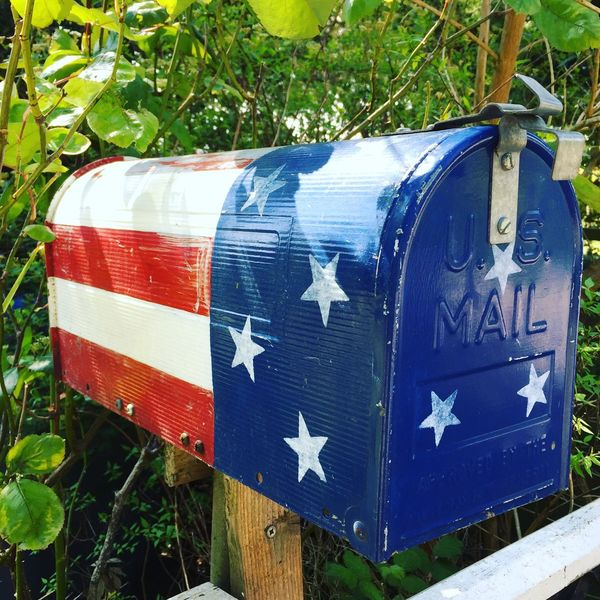 A little American flare to piss of the Royal Mail Royal Mail American FlagNo People Day Outdoors Tree Plant Growth Blue Close-up Nature