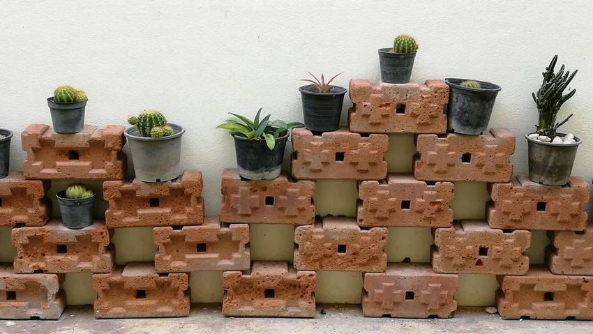 Brick decoration Indoors  No People Shelf Day Contructionwork Outdoors Contruction Homedecoration Retro Styled Brick Brick Wall Brickstones