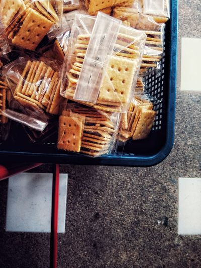 High Angle View Of Cookies In Basket