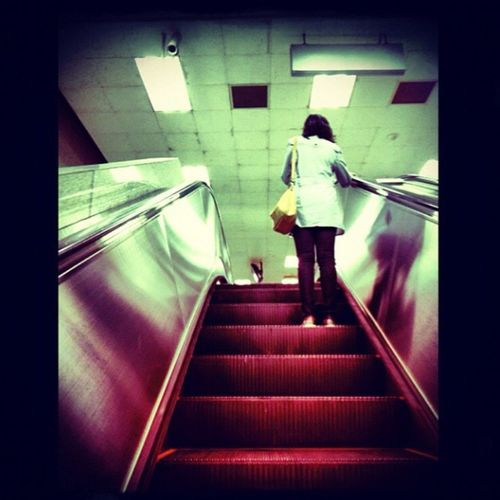 Upstairs Life Lady Eacalator Travel Where Are You Going? Followers Go To Work Feel The Journey Women Around The World