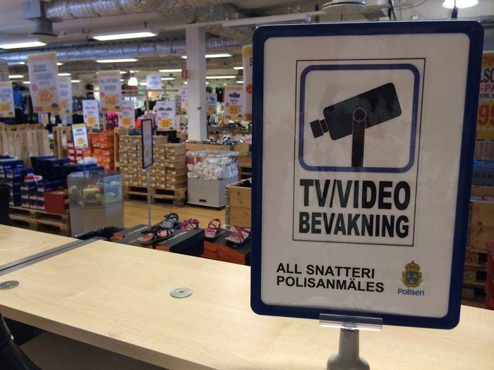 shoplifting protection Sign Swedish Cctv Close-up Indoors  Pilferage Shop Shoplifting Surveillance Surveillance Camera