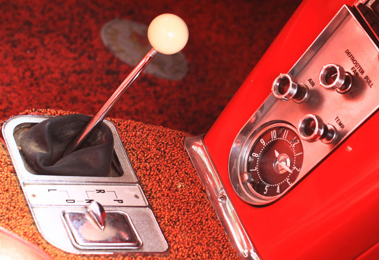 High angle view of gearshift in vintage car