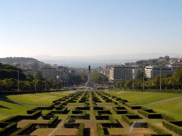 City Clear Sky Grass High Angle View Landscape Lisboa Portugal Outdoors Town Park Travel Destinations