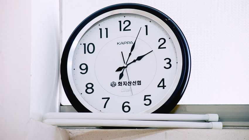 Clock Time Number Minute Hand Instrument Of Time Clock Face Hour Hand Black Color Indoors  No People White Background Close-up Day