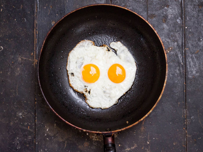 Directly Above Shot Of Fried Egg In Cooking Pan On Table