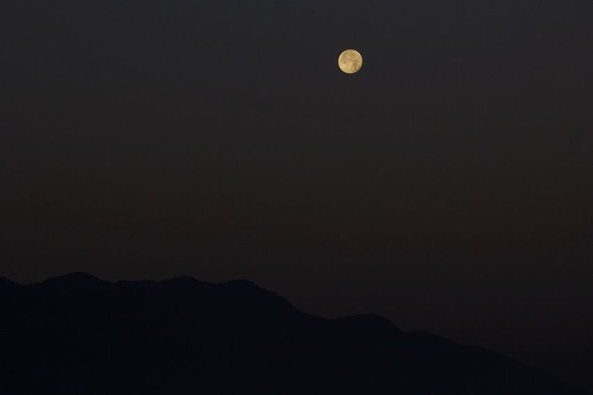 Early morning at chovar PhotoNepal Moon Nature Night Beauty In Nature Tranquil Scene Tranquility Mountain Scenics Silhouette Outdoors Astronomy Clear Sky Crescent