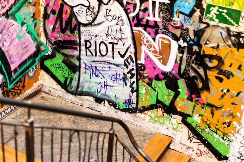 Emergency Exit / (c) Nidal Sadeq Beatiful Color Splash Emergency Graffiti Interior Style Interior Views Protest Stairs Urban Geometry Capitalism Colorful Corner Day Emergency Exit Exit Exit Sign Graffiti Graffiti Art Graffiti Wall Multi Colored No No People Riot Staircase Street Art