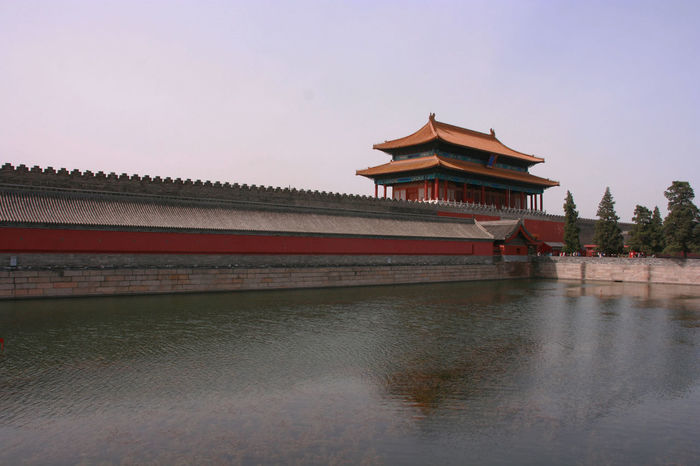 Forbidden City's moat Crenel Red Tree Wall Architecture Battlement Brick Building Exterior Built Structure Day Eaves Lake Moat Nature No People North Outdoors Purple River Roof Sky Stone Tower Traditional Building Travel Destinations
