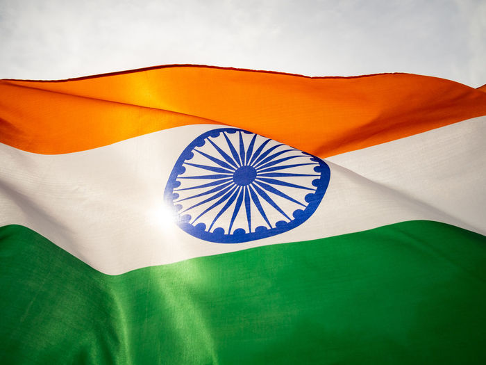 Close-up of indian flag against sky