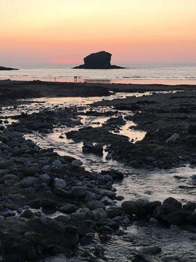 Portreath Cornwall Sunset Sea Beach Stream Lovewhereilive EyeMe Best Shot - Landscape Water Horizon Over Water Nofilter The Great Outdoors - 2017 EyeEm Awards The Great Outdoors - 2017 EyeEm Awards