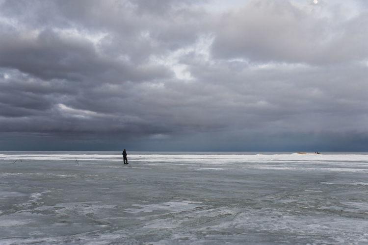 Full Length Water Sea Storm Cloud Beach Awe Silhouette Paddleboarding Dramatic Sky Sky