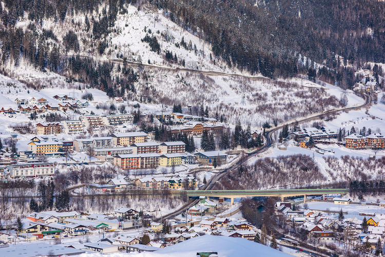 High angle view of buildings in city during winter. ski resort schladming, ski amade