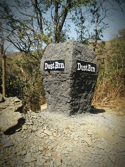 Dustbin made of rock eco-friendly Close-up Nature Heritage Site