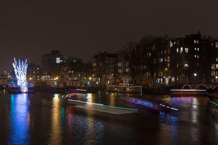 Amsterdam by night, light art Illuminated Architecture Night Water City Waterfront Bridge - Man Made Structure Cityscapes Cityscape City Life Nightlife Amsterdam Holland Lights