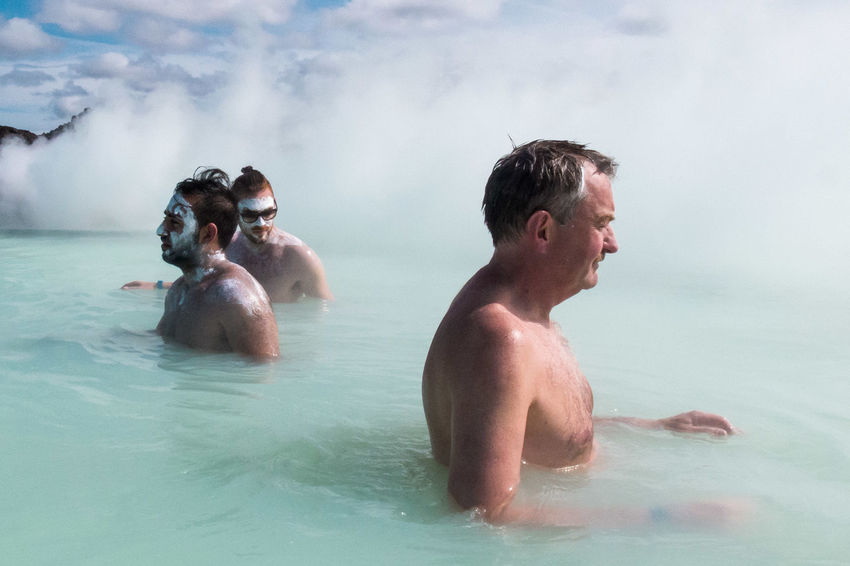 Streetphotography Street Photography Iceland Blue Lagoon Hot Spring Water Swimming Pool Fun Men Only Men Togetherness Shirtless People Leisure Activity Enjoyment Two People Adults Only Adult Vacations Swimming Outdoors
