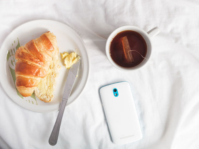 Bed Black Tea Breakfast Croissant Day Directly Above Food Food And Drink High Angle View Indoors  Morning Rituals No People Ready-to-eat Still Life Technology Everywhere
