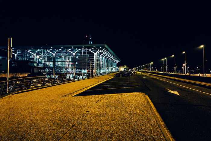 Architecture Basel Mulhouse Building Exterior Built Structure City Clear Sky Copy Space Diminishing Perspective Empty Flughafen Flughafen Basel Illuminated Lighting Equipment Night Outdoors Road Road Marking Sky Street Street Light The Way Forward Transportation Vanishing Point