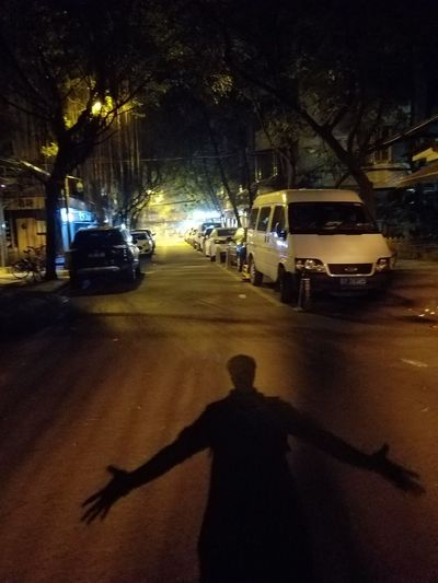 I'm comming! Shadow Car Silhouette Street One Person Night People