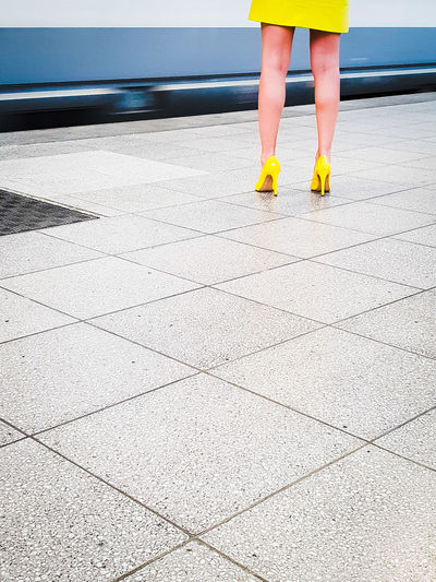 The train's gone... Yellow Skirt Railway Station Missing The Train Marketing Slim Leg Girl Travel Destinations Copy Space Travel Train Travel Waiting Zoom In Front City Marketing Brussels Bruxelles Belgium Tourism Travelling Transportation Yellow Yellow Pumps Pumps Woman Close Up Legs Thin Model Human Leg Standing Rear View