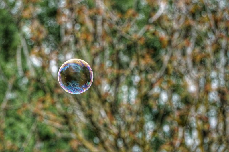 Close-up of bubble in mid-air