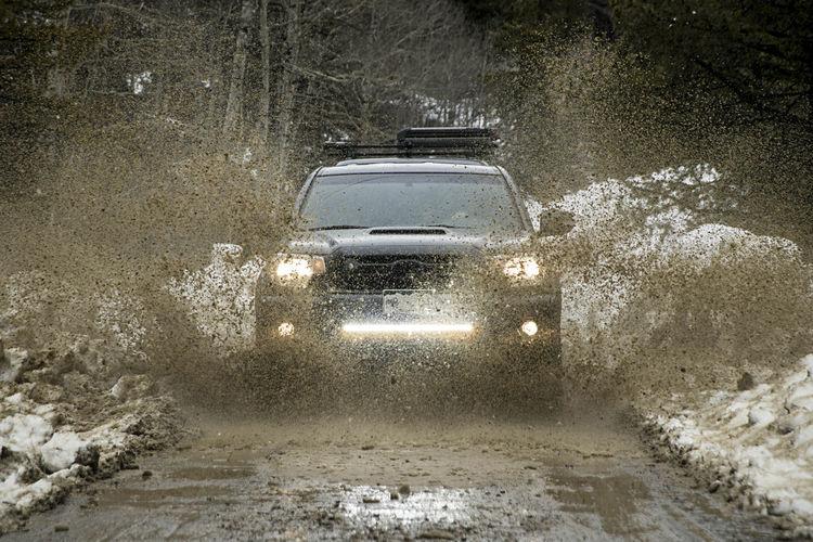 Wet car windshield