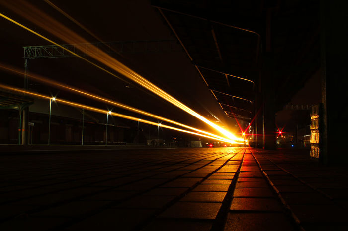 Night Light Trail Transportation Illuminated Speed Long Exposure Railroad Station Business Finance And Industry No People Motion Outdoors City Architecture Train Train Lights Train Station Road Travel Destinations EyeEmNewHere
