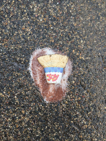 There Is No Joy Alone Close-up Cone Crushed Crushed Ice Depressed Dreams Hopes Hot Ice Cream Ice Cream Cone Joy Joyless Let Down Melted No Fun Pavement Sadness