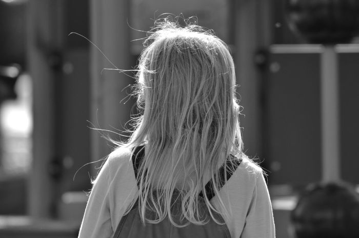 Girl in the park Urban Lifestyle City Life City City Park Selective Focus Park Child Childhood Springtime Wet Windy Outdoors Wear Streetphotography Street Photography Streetphoto_bw Hair Care Tangled Hair Blond Hair Long Hair Rear View Human Hair Headshot Close-up Wet Hair City Location Urban Scene Children This Is Family Focus On The Story