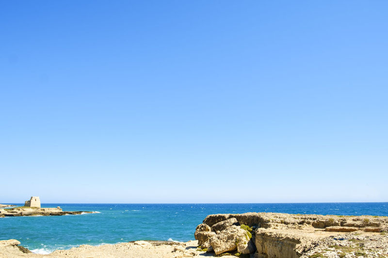 Beach Beauty In Nature Blue Clear Sky Copy Space Day Grotta Della Poesia Horizon Over Water Italy Lecce Melendugno Nature No People Outdoors Puglia Salento Salento, Italy Scenics Sea Sky Tranquil Scene Tranquility Travel Destinations Vacations Water