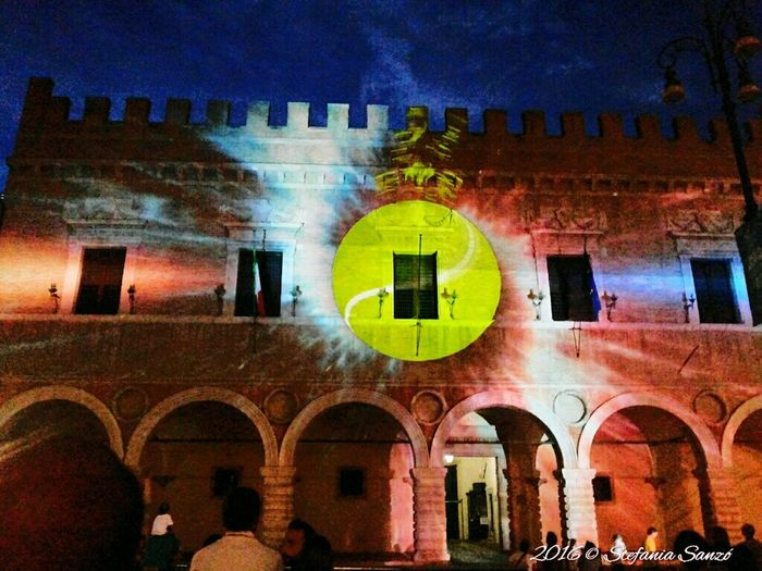 Architecture Light Games Multicolored Building Exterior Coppa Davis In The Night City Multi Colored City Life Ligthsprojection Lightshow Pesaro Centro Pesaro2016 Colour Of Life Colour Explosion