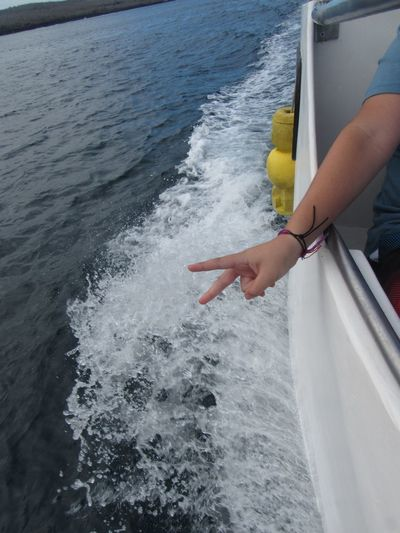The power boat, going to kicker rock Sea One Person Water Real People Transportation Human Body Part Human Hand Mode Of Transport Nautical Vessel Day Nature Lifestyles Leisure Activity Outdoors Wake - Water Motion Beauty In Nature Close-up An Eye For Travel