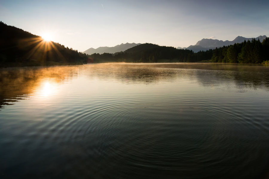 Pulse of Nature Alps Bavaria Bavarian Alps Dawn Fog In The Trees Garmisch Germany Gerold Geroldsee Karwendel Lake Landscape Mist, Background, Smooth, Environment, Backdrop, Scene, Morning Mountains Nature Nature Photography Outdoors Scenics Soierngruppe Summer Sunrise Wagenbrüchsee