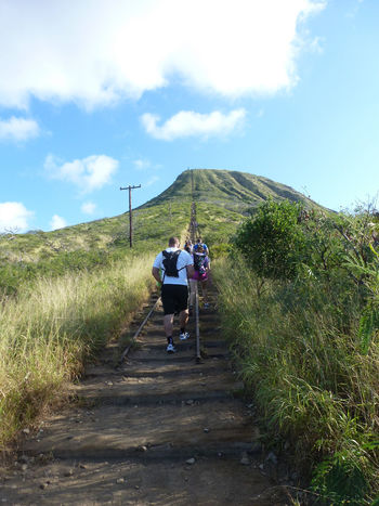 Beauty In Nature Climbing Grass Hiking Adventures Koko Head Hike Stairs Koko Head Stairs Landscape Leisure Activity Mountain Outdoors Rural Scene Sky The Way Forward Tranquil Scene Tranquility