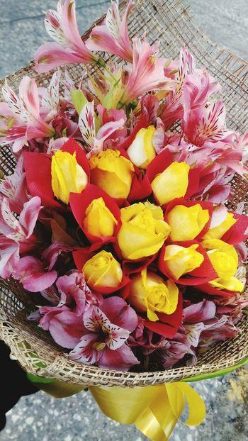 💙🌹 Anniversary AnniversaryGift Anniversary Date Love Flower Yellow Petal Freshness Flower Head Nature Outdoors Beauty In Nature Rainbow Colors
