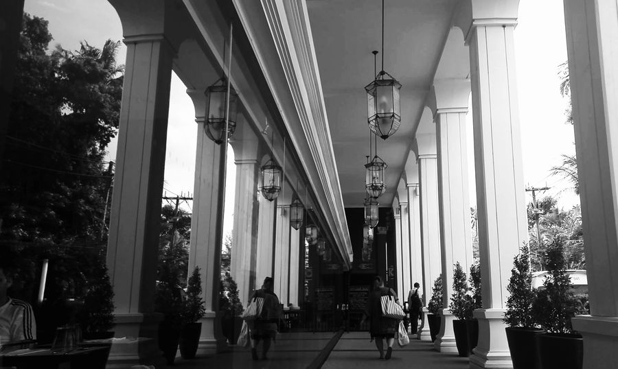 Architectural Column Architecture Black And White Bnw Bnw_collection Built Structure Columns Day Indoors  Lines Men Monochrome Parallel Parallel Universe People Pillars Real People Reflection Reflections Swissotel Tree