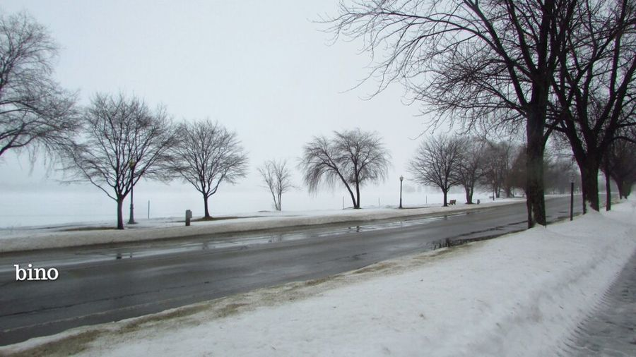Road Around The Lake Cloud Covered Snowy Cool Captures Foggy Day Afternòon Shoot Lake Cadillac Pure Michigan